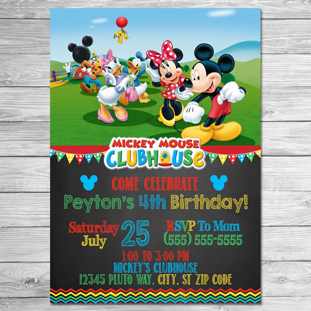 awesome free printable mickey mouse birthday invitations images