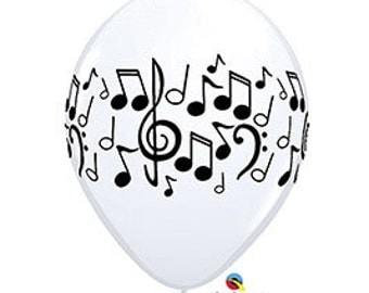 "11"" 5 Latex Music Notes Balloon, DIY supply, birthday, musical, recitals, party"