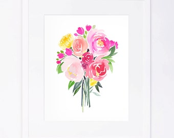 Pink Red Yellow Watercolor Flower Bouquet Print