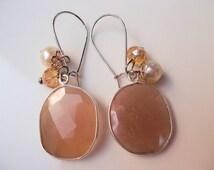 Hanging earrings gemstone pendants sunstone sterling silver frames handmade pendant earrings silver plated dangle earrings