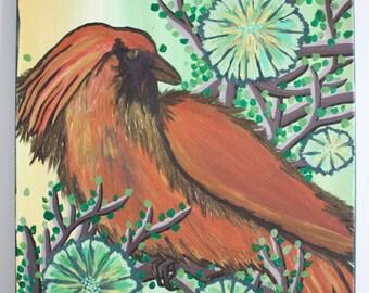 Shielded Sun, Acrylic, Painting, Abstract, Original Art, Bird
