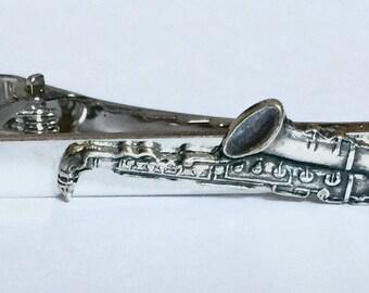 Saxophone Tie Clip In Silver Ox Musical Instrument Tie Clip Music Accessories