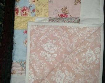 """Shabby Chic Quilt with reds, pinks, blues, and yellows 37""""x49"""""""