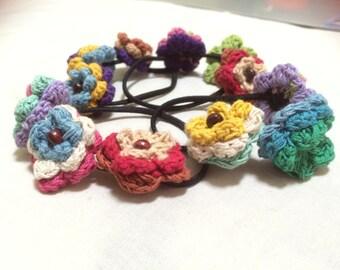 Crochet  Flower Hair ties/ Ponytail holders/ Ties and Elastics/ Flower ties, Hair accessories