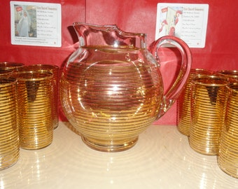 Mid Century Indiana Gold Striped Glass Ball Pitcher & 10 Matching Glasses