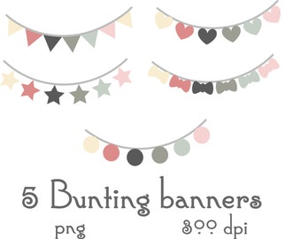 Digital Bunting Banner Flags Clipart Printable Instant Download PNG Scrapbooking Sticker Invitation Cards Commercial use