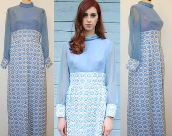 Vintage 60s maxi dress / 60s / Sartorial blu white lace dress // wedding boho maxi dress Size M