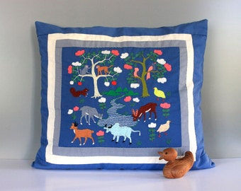 Vintage One of a Kind Handmade Embroidered Woodland Creatures Cushion