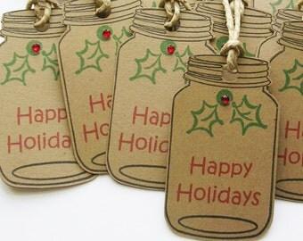 Holiday Gift Tags – Happy Holiday Mason Jar Tags – Rustic Christmas Gift Tags - Handmade Tags - Set of 10