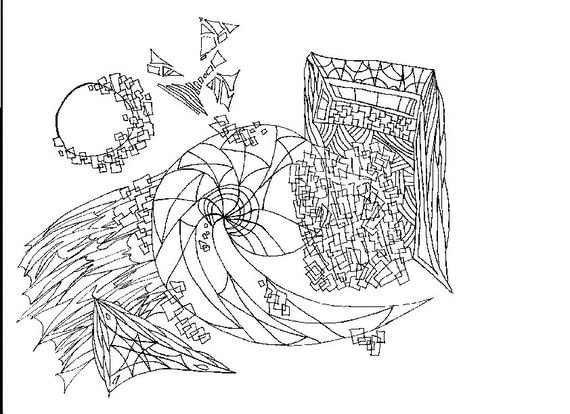 Abstract Shapes Coloring Pages : Items similar to abstract shapes adult coloring page on etsy