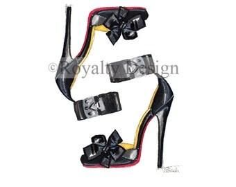 Modern Design Poster  Wall art decor Fashion illustration print - Louboutin shoes
