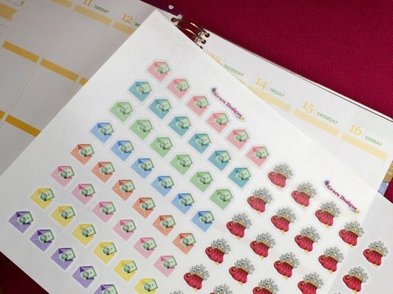 Money Planner Stickers - Pay day & Payment Due, for Erin Condren, LimeLife, Inkwell, Plum Paper, Filofax, Happy Planner