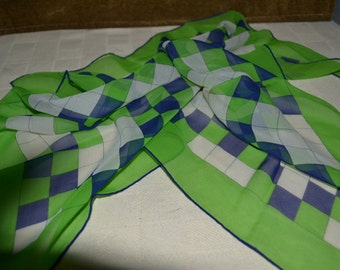 Square / crepe  / scarf / blue / white / lime green / checkered / 1970s / green / accessory / St. Patrick's Day / vintage / vintage scarf