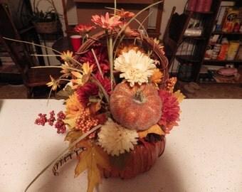 Decoration custom Harvest Thanksgiving  Floral arrangement in Pumpkin basket  Med.