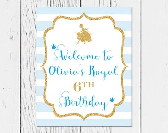 Personalized Printable Cinderella Birthday Party Welcome Sign (digital file)