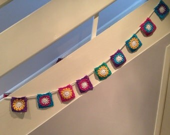 Crochet garland. Crochet bunting. Sunny Side Up Bunting