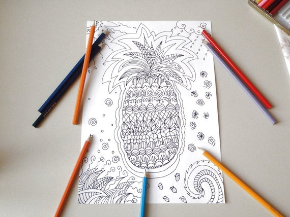 tropical pineapple adult coloring page instant download colouring book bakery draw meditation food printable print digital