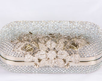 Silver Crystal Clutch, Vintage Bridal Clutch with Crystal Accent, Bridal Evening Bag Clutch, Formal Party Bag 46