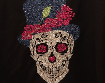 Sugar Skull Shirt with Top Hat and Roses in GlitterFlex Vinyl