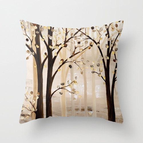 Brown Pillow Beige Throw Pillow Art Pillow Tree Pillow Tan
