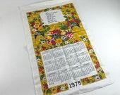 Vintage Linen Tea Towel Calendar Prayer 1975 Red Gold Green Flower Floral Graphics Kitchen Decor Kitchenware Dish Hand Towel New Unused Tag