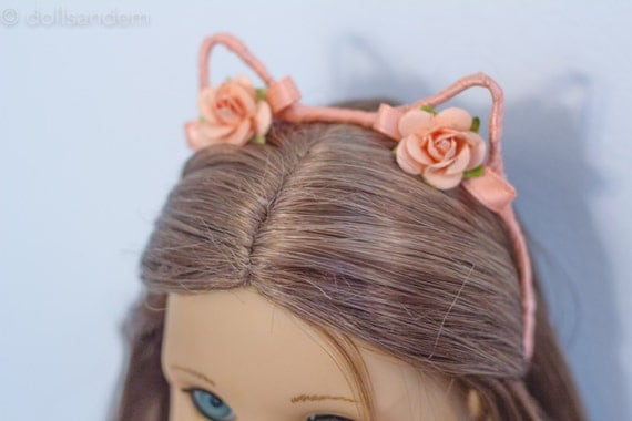 peach flowers cat ear headband for american girl dolls