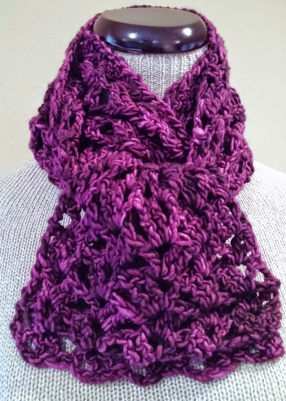 Crochet scarf organic kettle-dyed pure merino wool, rich colors of ...