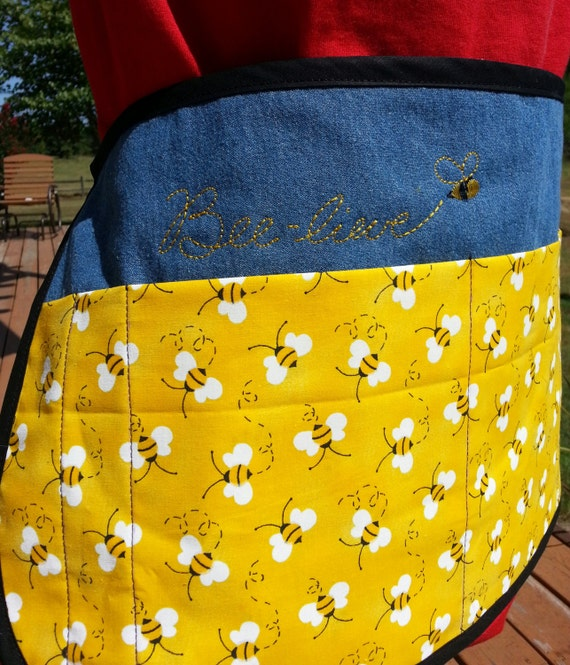 Embroidered Bee-lieve Lined Denim Half Apron - Vendor, Teacher, Waitress, or Gardner