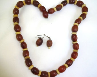 Amber Necklace with Earrings