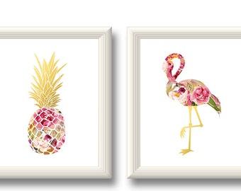 Pineapple Flamingo Art Print, Pineapple Flamingo Printable, Pineapple Flamingo Wall Art, Tropical Decor, Watercolor Gold Pineapple Flamingo