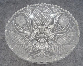 "Vintage Beautiful 8 1/2"" Wide Footed Crystal bowl with Three Ornate Etched Roses"