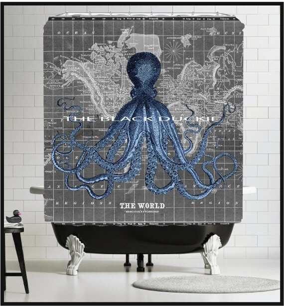 1800 39 s map shower curtain black gray old world map - Old world map shower curtain ...