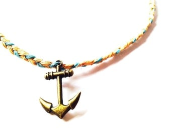 Necklace MARINA -- Handmade raphia necklace with anchor charm by All Things Natural