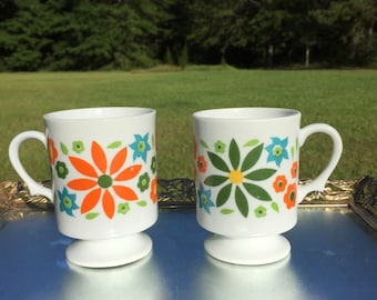 Retro coffee cups  avacodo green and orange  ReFabulousReVamped  ReFabulous