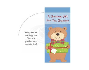 Grandson Christmas Money Card Free Envelope Template Printable PDF Instant Download