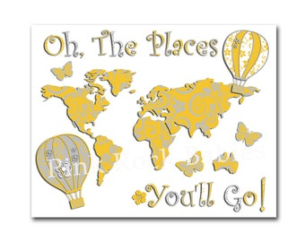 Oh the places you'll go world map yellow grey nursery artwork baby girl room art dr Seuss quote playroom wall decor toddler hot air balloon