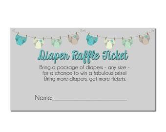 diaper raffle printable, diaper raffle ticket, baby shower diaper raffle, neutral gender baby shower, instant download