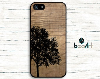iPhone Case - Tree on Wood Texture - iPhone 4/4s iPhone 5 iPhone 5c iPhone 5s iPhone 6 iPhone 6 Plus iPhone 6s iPhone 6s Plus iPhone SE