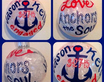 Engagement Christmas Ornament Hand Painted, Love Anchors the Soul Ornaments, Couple's First Christmas Gift, Glass Ball Christmas Ornaments