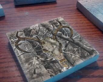Deer Skull Camo Coasters  Set of 4