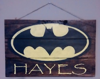 Personalized Batman Sign, Wooden Hand Painted Plaque, Wooden Sign, Super Hero Sign, Personalized Sign, Kids Room Decor, Customized Gift