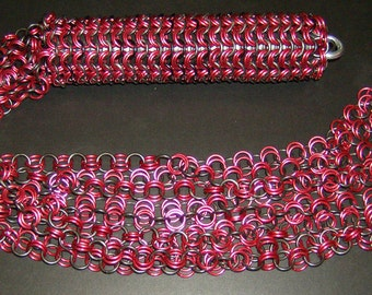 Red & Black Chainmail BDSM Flogger