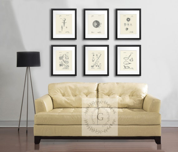 Wall Decor Set fathers day gift golf prints golf wall decor set of 6 prints