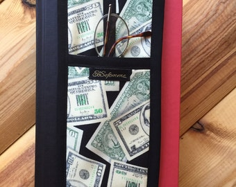 Unique Black Quilted Fabric Bookmark with Glasses Holder in Lucky Dollars