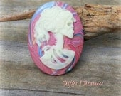 Glow in the Dark Polymer Clay Lolita Lady Cameo Brooch~Red Marbled