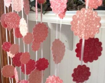 Garland, Bridal Shower & Wedding Garland Decoration, Shades of Pink and Coral Garland 20 feet long