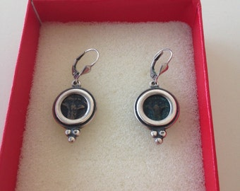 Silver earrings with antique coins of Palestine