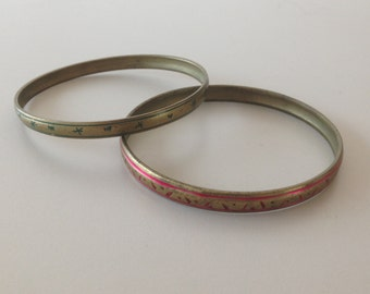 pair of brass and enamel bracelets-anni