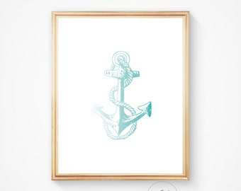 Nautical nursery, Beach decor, Anchor decor, Anchor art, Anchor, Nautical art Nautical print Nautical decor Home decor, Art Anchor printable