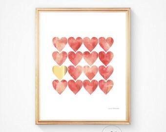 HEART print Heart sign Pink print Gold nursery print Love sign Love print Heart art decor watercolour design wall art Printable art